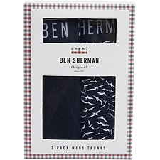 Image of Ben Sherman Australia NAVY/WHITE BLUNT 2 PACK TRUNKS