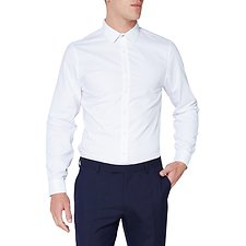 Image of Ben Sherman Australia WHITE GRID DOBBY KINGS SHIRT