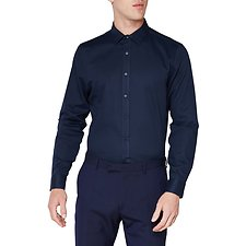 Image of Ben Sherman Australia STAPLES NAVY DIAMOND DOBBY CAMDEN SHIRT