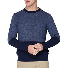 Image of Ben Sherman Australia NAVY WAFFLE TEXTURE TWO TONE CREW NECK KNIT