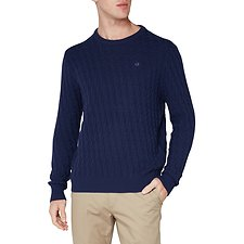 Image of Ben Sherman Australia NAVY BASKETWEAVE CREW KNIT