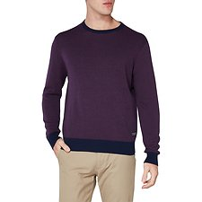 Image of Ben Sherman Australia WINE GRID TWO TONE CREW NECK KNIT
