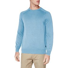 Image of Ben Sherman Australia DUSKY BLUE CREW NECK WITH CUFF TIPPING KNIT