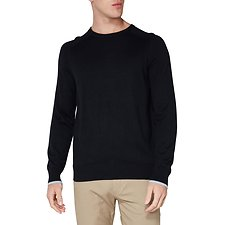 Image of Ben Sherman Australia BLACK CREW NECK WITH CUFF TIPPING KNIT