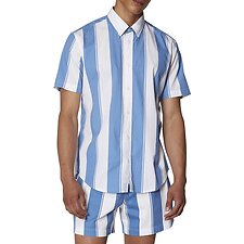 Image of Ben Sherman Australia DUSKY BLUE GRAPHIC STRIPE SHIRT